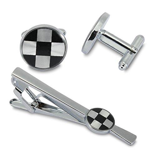 Gemelos Tablero de ajedrez de los hombres de corbata Gemelos Tiebar