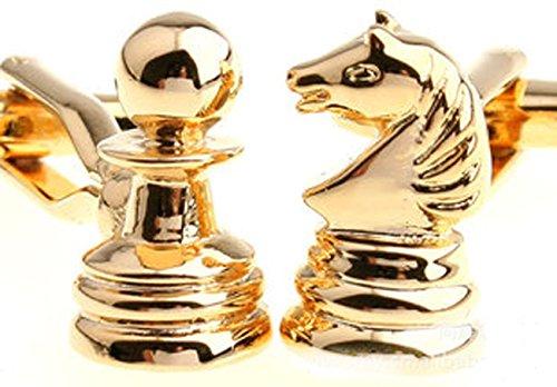 Lily Jewellery - Gemelos para hombre, de estilo francés, diseño de figuras de ajedrez, color dorado, incluye caja de regalo
