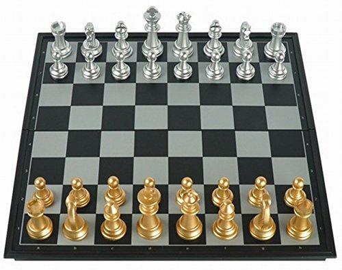 [Amateras Imaen de Ajedrez autentica gran juego de ajedrez tablero de ajedrez de oro internacional y pieza de plata plegable tablero de ajedrez almacenamiento conveniente tipo de caso 31cm de gran tamano [MT220]