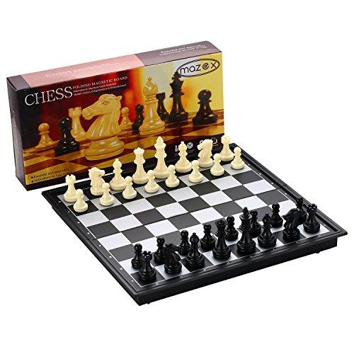 Juego de ajedrez plegable magnético para by MAZEX Juego de mesa de ajedrez para niños o adultos (9.8X9.8X0.8 Inch, Black&White Chess Pieces)