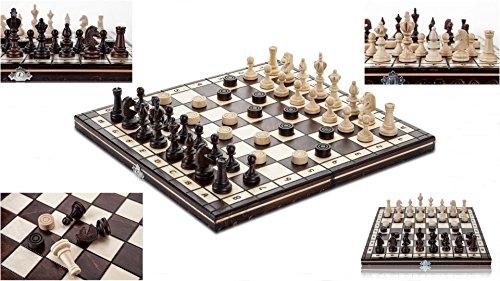 OLÍMPICA DAMAS - 35cm/14 de a mano juego de ajedrez de madera con damas