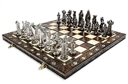 PLATA MEDIEVAL - juego de ajedrez grande 42cm/16,5 en cromo artística