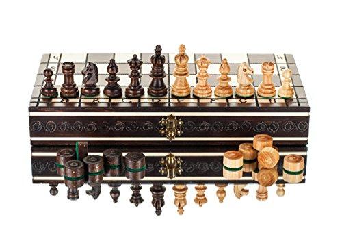 Olímpico de cereza de ajedrez y corrientes de aire-35 cm/14in de madera de ajedrez artesanal conjunto con damas