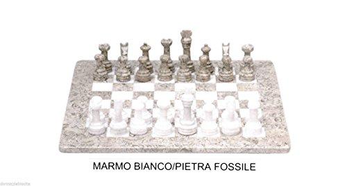 Ajedrez de piedra mármol blanco & fossile Marble Chess Set 20cm Classic Home Design