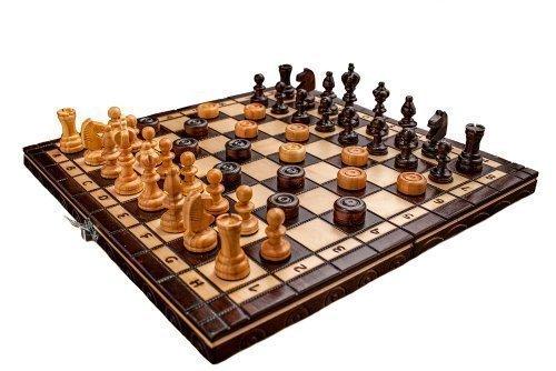 Nuevos tableros de ajedrez y de damas de tamaño 35 x 35 cm, hechos a mano con figuras de madera de cerezo.