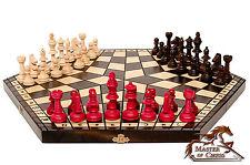 Wow! Gigante Madera Ajedrez juego para 3 JUGADORES perfecto hecho a mano LOTE !