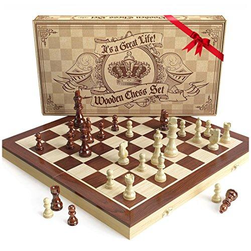 Set de ajedrez de madera est ndar universal realizado a - Mesas de madera hechas a mano ...