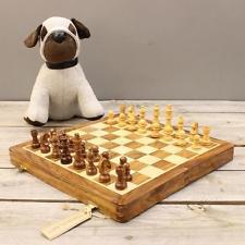 Juego de ajedrez Madera Magnético Tablero hecho a mano PIEZAS TALLADAS Plegable