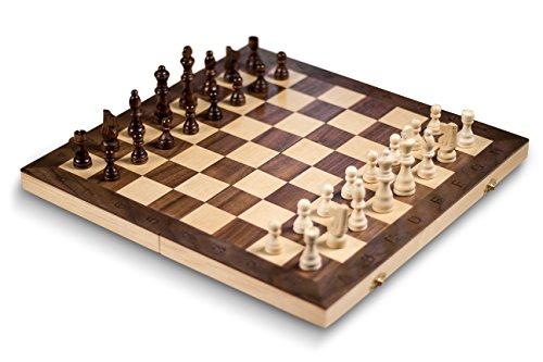 Juego de Ajedrez Smart Tactics Edición Standard - Grande 40 x 40 cm - Tablero de Ajedrez Plegable de Madera Certificada FSC y Terciopelo
