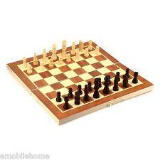 Madera Vintage piezas Juego de ajedrez plegable Tablero Caja Talladas a mano