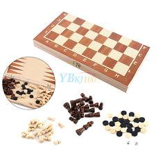 Tablero de ajedrez de madera Standard Vintage backgammon plegable caja 3 en 1