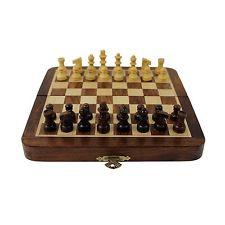 Viaje Juego de ajedrez tablero Madera Magnético Vintage plegable portátil