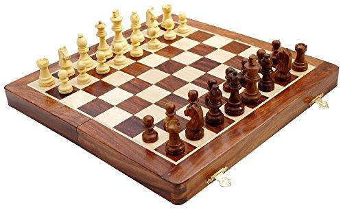 "Zap Impex® madera ajedrez magnético, tablero de ajedrez plegable 12 ""pulgadas"