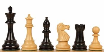 """British Staunton Chess Set in Ebonized Boxwood & Boxwood - 3.5"""" King"""