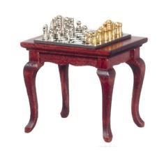 Casa de Muñecas Caoba Mesa Juego Ajedrez Miniatura Estudio Muebles & Accesorio