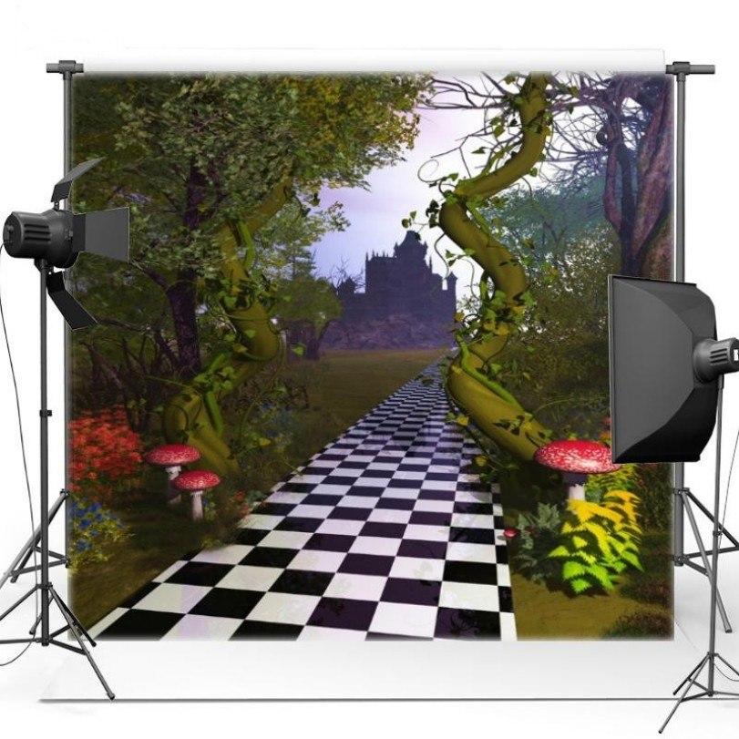 Castillo setas árbol temático ajedrez Road telones de fondo paño de vinilo impresión niños de fondo