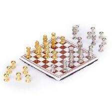 1/12 Miniatura de casa de munecas Juego de ajedrez de metal Plata y Oro S9I5