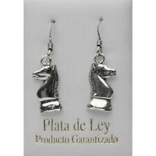 PENDIENTESCABALLO AJEDREZ PLATA DE 1ª LEY 925 EAO0867.