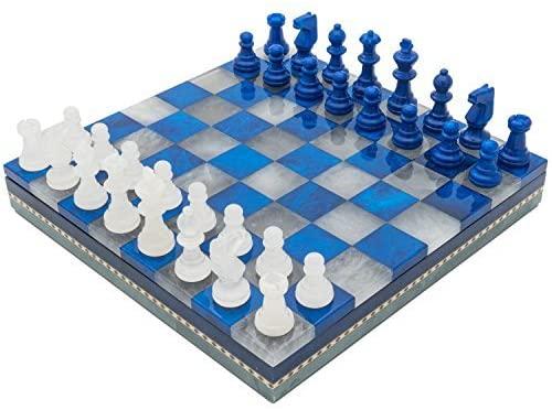 tablero de ajedrez de alabastro Azul y Blanco alabastro