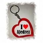 """Llavero de Ajedrez en Corazón """"I Love Ajedrez"""""""