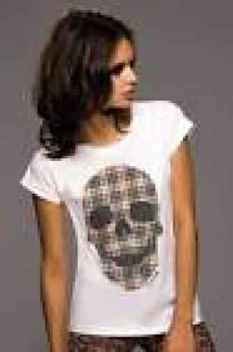camiseta Calavera ajedrez, de mujer rock serie cráneos, algodón orgánica