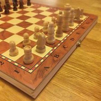 NUEVO ♞ hechos a mano Ajedrez de madera & Damas Set 24cm...