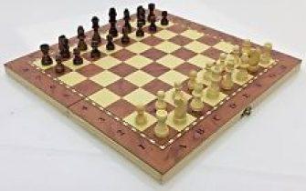 NUEVO ♞ hechos a mano Ajedrez de madera & Damas Set 34cm...