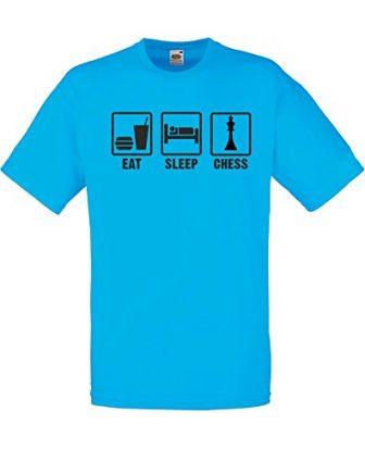 Print Wear Clothing brand88–Eat, sleep, de ajedrez para hombre impreso camiseta -...