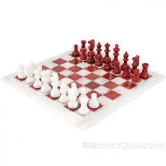 Rojo y Blanco Alabastro Juego de Ajedrez 36.8cm