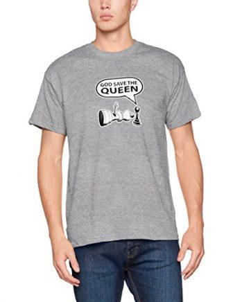 Shirtzshop–God Save the Queen de ajedrez S–Camiseta, gris, S