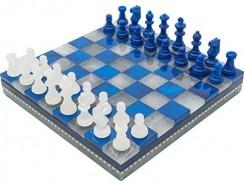 Estuche de ajedrez de alabastro azul y blanco